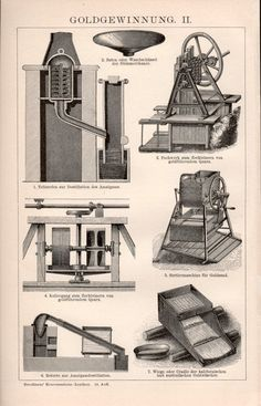 1898 Gold Refining Illustration Antique Print by Craftissimo Mountains Of Madness, Industrial Revolution, Antique Prints, 18th Century, Big Ben, Recovery, German, Explore, Antiques