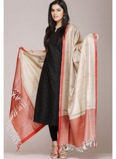 Beige Tussar Silk Dupatta With A Orange Border Churidar Designs, Kurta Designs Women, Blouse Designs, Indian Attire, Indian Wear, Indian Outfits, Stylish Dress Designs, Stylish Dresses, Hippy Chic