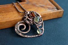 Copper heart  wire wrap pendant  copper jewelry by LenaSinelnikArt, $38.00