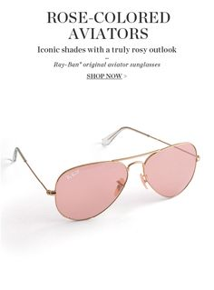 Who doesnt want to see life behind rose colored Ray Ban Aviators?!?? (#1) #Rayban #rayban #RayBanSunglasses RAY BAN Sunglasses! love this site!$12.99 holy cow, Im in love with this site.
