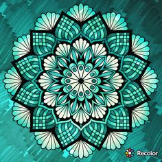 Teal Mandala; Gradient colors; Added marker effect