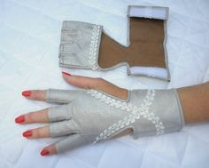 White&Grey fingerless eco leather women's by SwanAccessories
