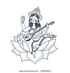 Icon in the linear style. black and white illustration Saraswati Painting, Krishna Painting, Krishna Art, Goddess Tattoo, Goddess Art, Saraswati Goddess, Durga, Line Art, Ink Pen Art