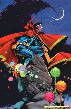 Doctor Strange Pinup art by Mike Dringenberg. Marvel Comic Character, Marvel Comic Books, Comic Book Characters, Marvel Characters, Comic Movies, Doctor Strange Comic, Doc Strange, Strange Art, Strange Magic