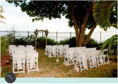 Beach wedding setup at Postcard Inn Islamorada FL Soiree Key
