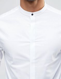 Image 2 of ASOS Skinny Shirt In White With Gunmetal Popper And Grandad Collar