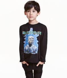 Black/Iron Maiden. Long-sleeved T-shirt in jersey with a printed design…