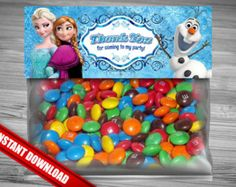 Frozen Favor Bag Toppers - INSTANT DOWNLOAD Disney Frozen Birthday Printable for Party Treat