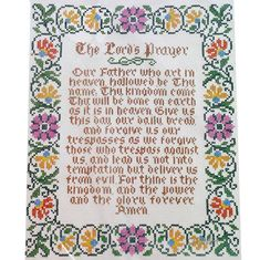 THE LORDS PRAYER Sampler Vtg Stamped Cross Stitch Kit Linen 1976 Columbia Minerva by NeedleLittleTherapy on Etsy
