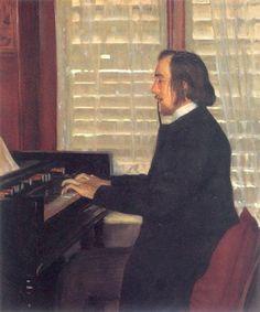 Portrait of Eric Satie at the harmonium - Santiago Rusinol. Impresionismo