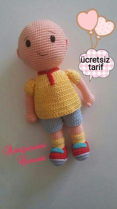 Gunaydin caillou yapilisinda takilan arkadaslar oluyor ve cok soru aliyorum. Caillou, Crochet Amigurumi Free Patterns, Crochet Art, Knitted Dolls, Crochet Dolls, Baby Doll Clothes, Baby Dolls, Creative Embroidery, Fabric Toys