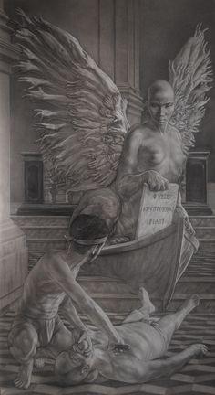 """""""Oedipus"""" pencil and white conté  cm 120x220"""