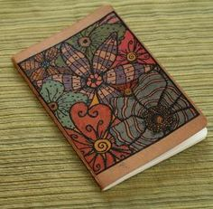 Abstract Floral Journal Embossed Mini Notebook by ThePurpleTable