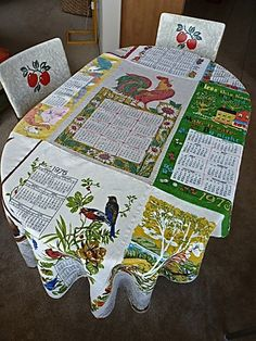 Fun Tablecloth made from Nine Vintage Calendar Dish Towels Dated 1968-1976. $25.00, via Etsy.
