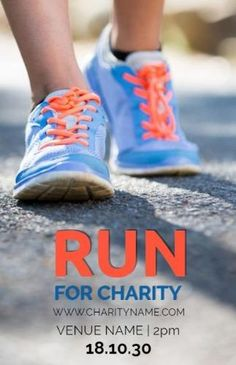 A creative event poster template. A background image of a person running. With bright text displaying run for charity.