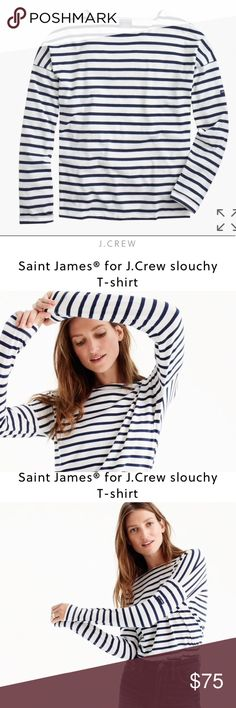 """NWT Saint James for JCrew Slouchy Tee NWT. No flaws. Online description: """"St. James has been spinning some of the world's finest knits out of its Normandy-based factory since 1889 and has become famous for its Breton shirt, a nautical-inspired style featuring classic stripes. Designed exclusively for us, this airy cotton version features a roomy body and slimmer sleeves.  Cotton. Machine wash. Made in France. Select stores. Item A1931."""" 🛍Pls feel free make an offer/bundle offer! I may not…"""