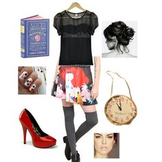 Angie wins a $20 gift card with this stylishly bookish outfit for the Bargainista challenge -- total cost just $48!!