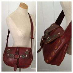 Vintage 70s hand tooled leather purse by nanapatproject on Etsy, $48.00