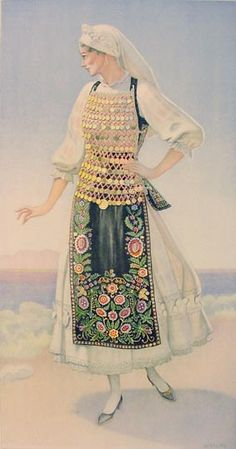 NICOLAS SPERLING Woman's Costume (Lokris, Livanates) 1930 lithograph on paper after original watercolour Greek Traditional Dress, Traditional Fashion, Traditional Outfits, Greek Costumes, Dance Costumes, Costumes For Women, Greek Royalty, Greek Culture, Costume Collection