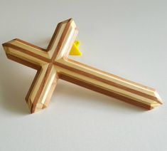 Wood wall cross made of pine and red oak. handmade wooden