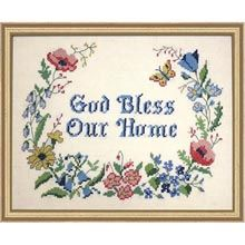 God Bless Our Home Stamped Cross-Stitch Kit - Herrschners