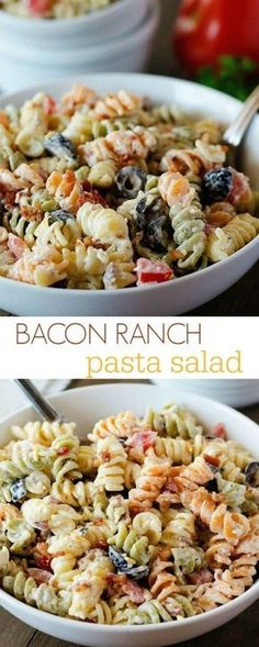 1 package (12 oz.) tri-color rotini pasta 1/2 cup mayonnaise 1/2 cup sour cream 1 package (1 oz.) dry ranch dressing mix 1/2 teaspoon garlic powder 1/2 cup milk 8 slices cooked bacon, chopped* (see notes below) 1 large tomato, chopped 1 can (4.25 oz.) sliced black olives, drained 1 cup shredded cheddar cheese