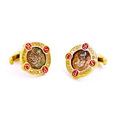 Roman Cufflinks by Houndsditch, in yellow gold plated silver, Roman coins, citrines and epoxy enamel #cufflinks  #houndsditch  #silverjewellery #contemporaryjewellery #romancoins  #epoxyenamel