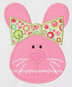 Items similar to 285 Girl Bunny Machine Embroidery Applique Design on Etsy Baby Applique, Embroidery Monogram, Machine Embroidery Applique, Hand Embroidery, Applique Templates, Applique Patterns, Applique Designs, Quilt Patterns, Patchwork Quilting