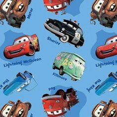 Cars Mater and Lightening McQueen cotton fabric by Springs Creative Car Fabric, Blue Fabric, Cotton Fabric, Quilting Fabric, Sheriff, Tow Mater, Lightening Mcqueen, Cars Characters, Disney Fabric