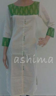 Code:2411160 - Cotton Kurti With Mul Ikkat Yoke, Price INR:1090/-