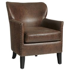 Lyndon Armchair - Coffee - $399.95 - 27.5W x 32.25D x 35H - Tried at Pier One - Not bad, pretty comfortable with throw pillows REMOVED.  ?Their floor model seemed wobbly? - think it was some kind of wierd fake suede/leather