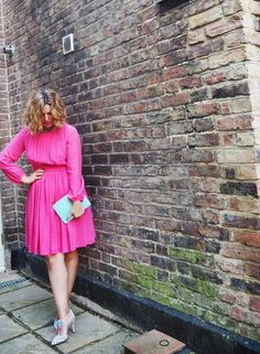 Erica Davies wears the Boden Long Sleeve Selina Dress & Alice Heels. February 2015.