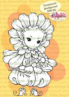 PNG Digital Stamp - Whimsical Chamomile Sprite - Instant Download - digistamp - Fantasy Line Art for Cards & Crafts by Mitzi Sato-Wiuff