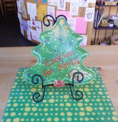 """Cookies For Santa"" Tree Plate #christmas #pottery"