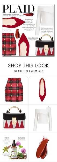 """Check It: Plaid"" by loveislikeasong ❤ liked on Polyvore featuring Balmain, Club Monaco, The Volon and By Terry"