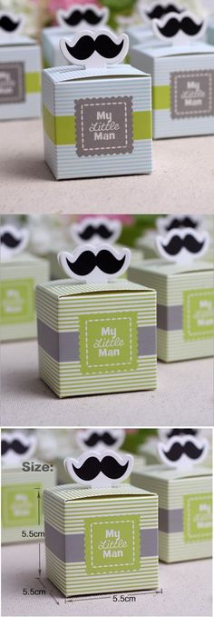 30pcs My little Man Cute Mustache Birthday candy box Boy Baby Shower Favor boxes  wedding souvenirs wedding favors and gifts $11.35