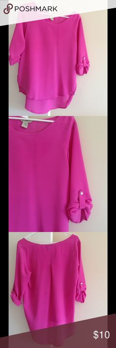 Magenta blouse Magenta high-low blouse with roll tab sleeves.  Perfect to wear over leggings! Fun & Flirt Tops Blouses