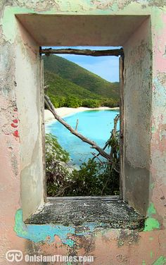 A view from the window of the sugar cane factory at Little Lameshur Bay, Saint John, USVI