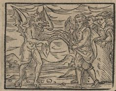 https://flic.kr/p/jXg18M | An Offering to the Master | Witches were also required to give the Devil a piece of their clothing during their indoctrination ritual. According to the text, this was the Devil's means of procuring from them physical goods, in order to complement the other spiritual and natural goods he took from them. In this scene, a man is in the act of removing his cape, while the Devil gleefully snatches one of its corners. Compendium maleficarum, ex quo nefandissima in genus…