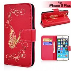 Butterfly Pattern Magnetic Leather Flip Stand Case with Card Slot for iPhone 6 Plus - Red