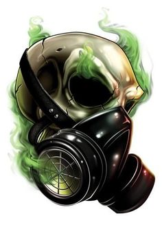 Gas Mask Skull Temporary Tattoos - Skull Mix Tattoos