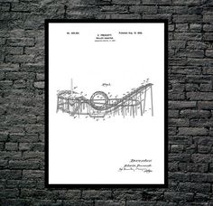 Roller Coaster Patent, Roller Coaster Poster, Roller Coaster Print, Roller Coaster Art, Roller Coaster Decor, Roller Coaster Wall Art by STANLEYprintHOUSE  0.79 USD  This is a vintage patent print. The Roller Coaster from 1898.  This poster is printed using high quality archival inks, and will be of museum quality. Any of these posters will make a great affordable gift, or tie any room together.  Please choose between different sizes and colors.  ..  https://www.etsy.com/ca/listing..