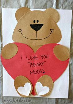 Mothers Day Crafts For Kids Discover Love You Beary Much Craft Template Preschool Valentine Crafts, Kinder Valentines, Bear Valentines, Valentines Day Activities, Valentines Crafts For Preschoolers, Homemade Valentines, Valentine Wreath, Valentines Day Care Package, Valentine Ideas
