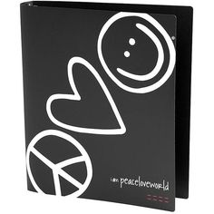 Peace Love World I am Peace Love World Black 3 Ring Binder ($10) ❤ liked on Polyvore featuring home, home decor, office accessories and peace love world