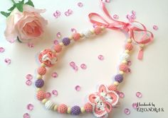 Little girl pink necklace, baby accesories, baby crochet necklace, necklace for girls