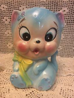 Vintage E.O. Brody Co. Ceramic Wall Pocket Planter Light Blue Cat Kitten Nursery