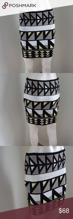 """RACHEL by Rachel Roy Tribal Skirt Gorgeous tribal skirt by Rachel by Rachel Roy. All over design in yellow, gray, black, white. Made of 60% viscose & 40% Nylon. Measurements: waist: 26"""" unstretched, 28"""" stretched, length: 17"""". #5272729 RACHEL Rachel Roy Skirts"""