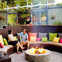 Firepit circle sitting area - Ideas for Fire Pits - Sunset