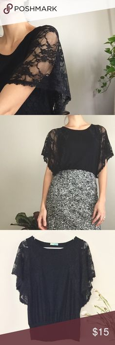 Lace Dolman Black Top • Bundle to receive a private discount offer •  Gorgeous lace top by Queen Ester. In excellent condition. Elastic on the bottom so best worn tucked into pencil skirt❤️ Tag says M but fits an S or XS as well since can be worn flowy and loose. Anthro for exposure. Anthropologie Tops Blouses