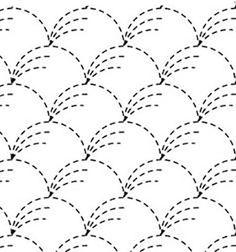 Sashiko Pre-printed Sampler - # 0001 Nowaki (Pampas Grass) - White